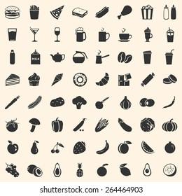 Vector Set of 64 Food Icons. Food and Drinks. Fast Food. Dessert. Vegetables. Fruits. Food Signs for Restaurant Menu.