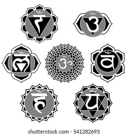 Vector set of 7 black and white chakra symbols for coloring book.