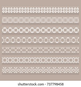 Vector set of 7 seamless linear borders, frame elements. Fashion lace collection, line patterns. Decorative geometric border for page, headline, banner, wedding invitation, greeting card.