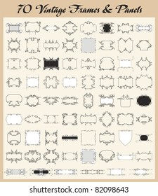 Vector set of 70 vintage ornamental frames and panels.