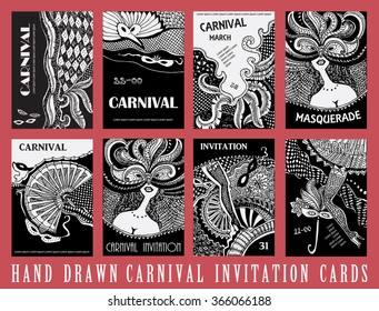 Vector Set of 8 abstract cards. Carnival Party invitation. Masquerade stickers. Mardi Gras holiday. Black and white hand drawn doodle sketch. Tribal ornaments, checkered texture.
