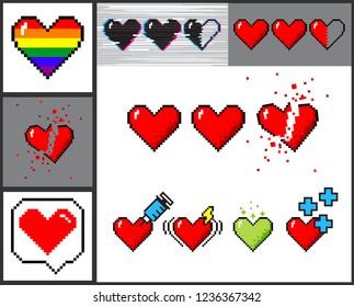 Vector set of 8 bit pixelart hearts. Retro video games trend. Rainbow heart, halflife, broken, medical concept