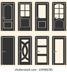 vector set of 8 door icons