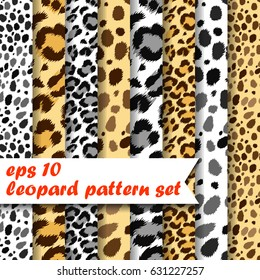 Vector set of 8 seamless natural color leopard patterns.