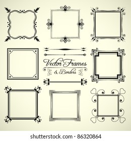 vector set of 9 calligraphic frames and borders