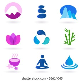 Vector set of 9 graphic design elements inspired by water, nature, soul and meditaion. Perfect use for websites, magazines and wellness brochures.