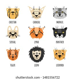Vector set of 9 wild cats in Scandinavian style. Set of stickers, isolates. Cheetah, caracal, manul, serval, lynx, panter, tiger, lion, leopard.