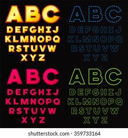 vector set ABC alphabet fonts  isolated on black background