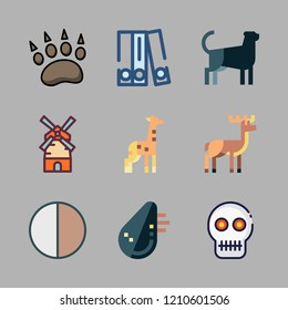 vector set about deer, contrast, mill and blinder icons set.