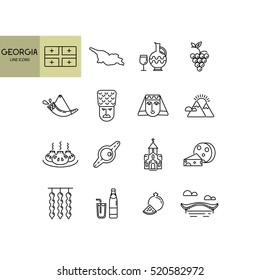 Vector set about Georgian culture