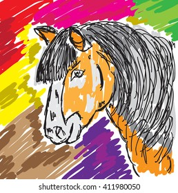 Vector set of abstract animals. Horse hand drawn marker sketch illustrations,color burst