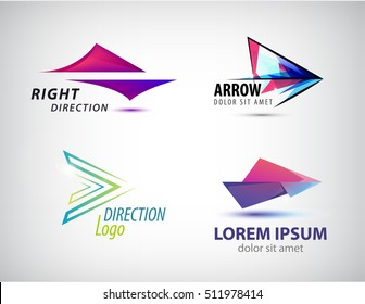Vector set of abstract arrow icon, logos design template. corporate, identity, company, brand, branding, logotype.