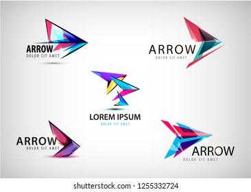 Vector set of abstract arrow logos, pointer icons.