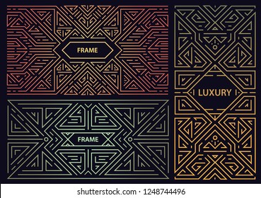 Vector set of abstract art deco frames. Linear modern style, monogram geometric banners, luxury packaging design, poster, inviation, cover, background