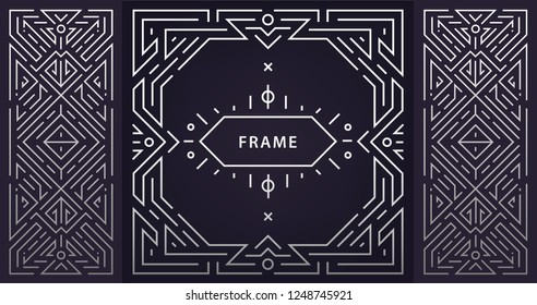 Vector set of abstract art deco frames. Linear modern style, monogram geometric banners, luxury packaging design, poster, invitation, cover, background