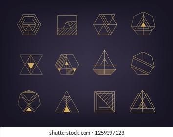 Vector set of abstract art deco retro logos, geometric golden shapes, linear, monogam style. Luxury
