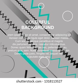 Vector set of abstract avangarde retro background with multicolored geometric shapes and copy space frame