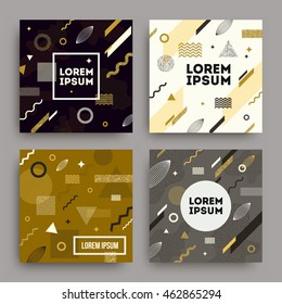 Vector set of abstract avangarde retro background with  geometric shapes and copy space frame