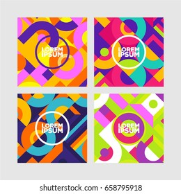 Vector set of abstract avangarde retro background with multicolored geometric shapes