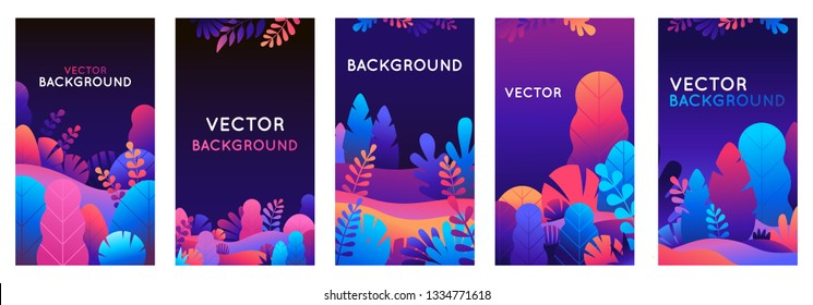 Vector set of abstract backgrounds with copy space for text - bright vibrant banners, posters, cover design templates, social media stories wallpapers with leaves