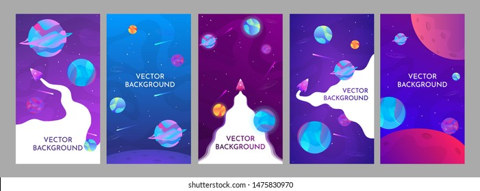 Vector set of abstract backgrounds with copy space for text - space banners, posters, cover design templates, social media stories wallpapers with abstract fluid planets and rocket.