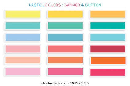 Vector Set of Abstract Banner Design Background Header Banner or Botton Templates in Pastel Colors with Copy Space for Add Content.