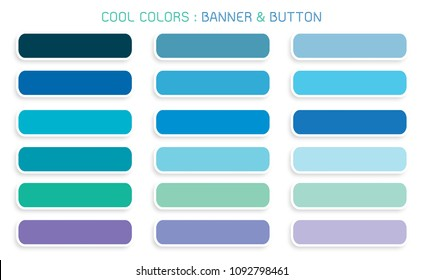 Vector Set of Abstract Banner Design Background Header Banner or Botton Templates in Cool Colors with Copy Space for Add Content.