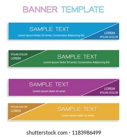 Vector Set of Abstract Banner Design Background or Header Templates in Four Assorted Colors with Copy Space for Add Content.