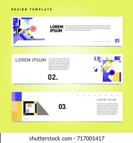 Vector set of abstract banner web design template. Retro and pop art colorful style banner design layout.