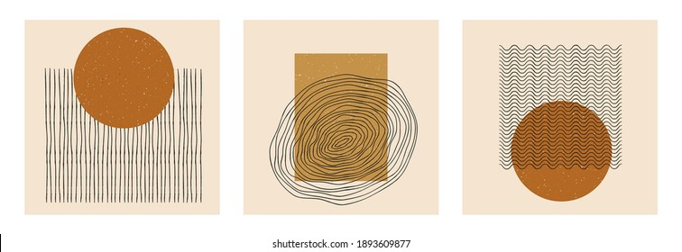 Vector set of abstract boho minimal geometric design posters.  Trendy template creative cards with primitive shape compositions for wall decoration, postcard, brochure, cover, media