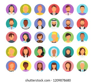 Vector set of abstract business round avatar. Multicultural Male and Female portrait.