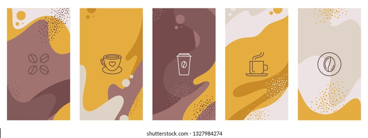 Vector set of abstract creative backgrounds with copy space for text and coffee linear icons - design templates for social medi stories for coffee shop and house - simple, stylish and minimal designs