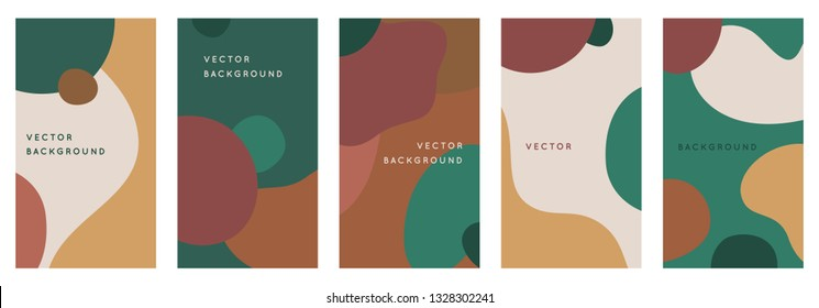 Vector set of abstract creative backgrounds in minimal trendy style with copy space for text - design templates for social media stories and bloggers - simple, stylish and minimal designs for banners