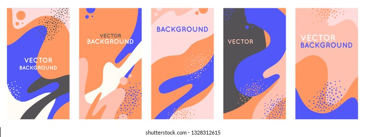 Vector set of abstract creative backgrounds with copy space for text - design templates for instagram stories and blogger - simple, stylish and minimal designs for invitations, banners, covers and fly