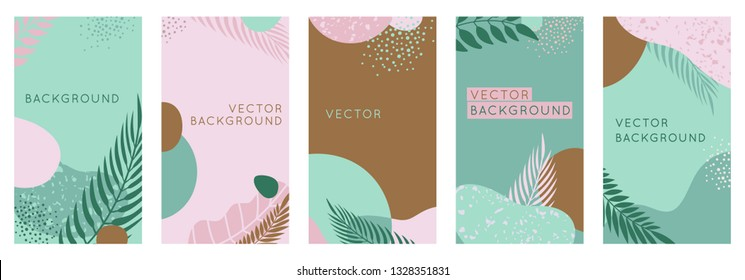 Vector set of abstract creative backgrounds in minimal trendy style with copy space for text - design templates for social media stories. Simple and stylish designs with terrazzo patterns