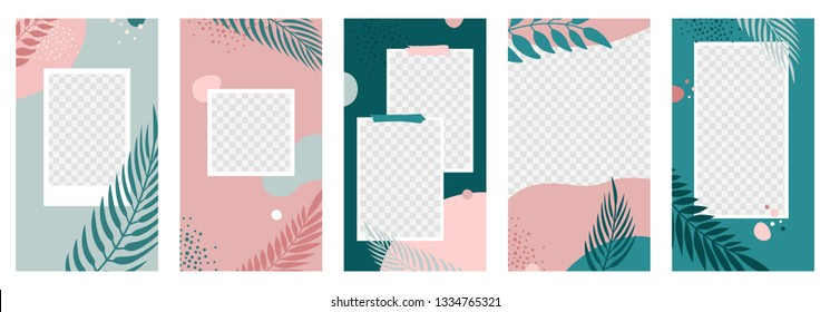 Vector set of abstract creative backgrounds in minimal trendy style with copy space for text and photo frames - design templates for social media stories -  stylish backgrounds with terrazzo texture
