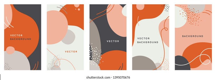 Vector set of abstract creative backgrounds in minimal trendy style with copy space for text - design templates for social media stories - simple, stylish and minimal designs for invitations, banners