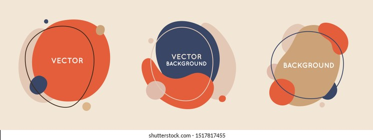 Vector set of abstract creative backgrounds in minimal trendy style with copy space for text - design templates for social media stories and bloggers - simple, stylish and minimal designs for invitati