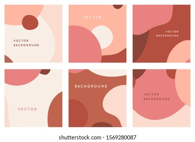 Vector set of abstract creative backgrounds in minimal trendy style with copy space for text - design templates for social media posts and stories - simple, stylish and minimal wallpaper designs for i