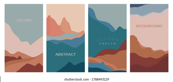 Vector set of abstract creative backgrounds in minimal trendy style with copy space for text - design templates for social media stories - simple, stylish and minimal wallpaper designs for invitations