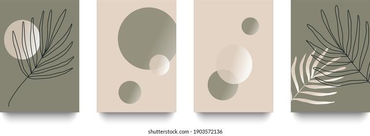 Conjunto vectorial de composiciones abstractas de arte minimalista creativo de círculos y ramas perfectas para la decoración de paredes, postales y fondo.