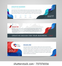 Vector set of abstract design templates horizontal banner for web and print with place under text and header.