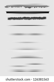 Vector set of abstract dividers isolated on gray