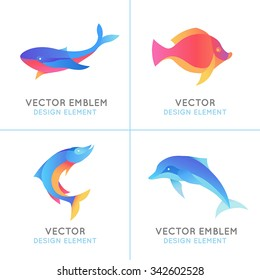 Vector set of abstract emblems and logo design templates in bright gradient colors - fish icons and signs
