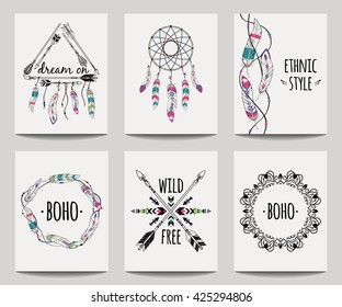 Vector set of abstract ethnic flyers with arrows, dreamcatcher, feather frames. Boho design brochure templates. Modern colorful tribal backgrounds.