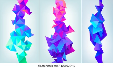 Vector set of abstract facet 3d shapes. Geometric triangles banners, vertical orientation. Colorful, futuristic modern style. Isolated. Purple, blue