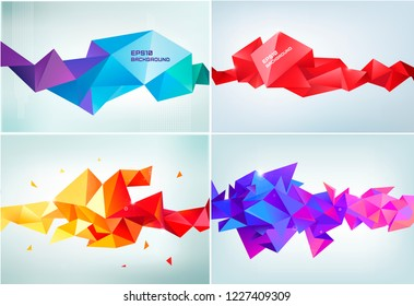 Vector set of abstract facet 3d shapes isolated. Horizontal crystal banners, posters, geometric backgrounds. Red, purple, orange, blue