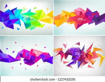 Vector set of abstract facet 3d shapes isolated. Horizontal crystal banners, posters, geometric backgrounds. Purple, red