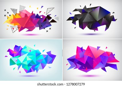 Vector set of abstract facet 3d shapes, geometric banners. Low poly triangle posters, modern concept backgrounds
