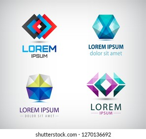 Vector set of abstract geometric 3d logos, shapes. Crystal facet origami Logo Collection. graphic design elements for your company. Creative business icons